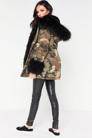 Vanessa Black Faux Fur Cuffed Camo Parker Jacket