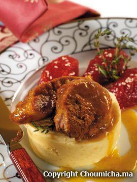 Jarret de veau façon Tanjia, mousseline de pommes de terre et confiture de tomates (Choumicha)