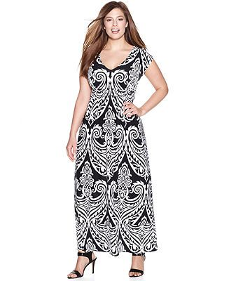 Cap sleeve maxi dress plus size