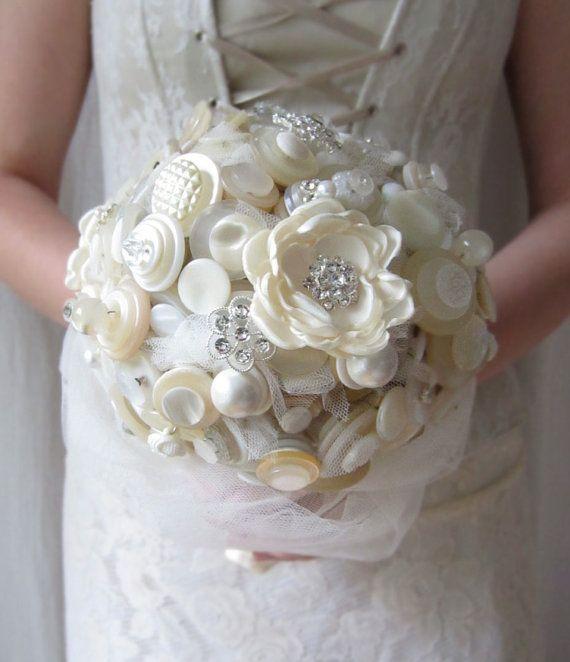 Button Bouquet, Fabric Flower Wedding Bouquet, Rhinestone Bouquet, Vintage Button Bouquet, Wedding Bouquet, Made in Sweden, Bridal Bouquet