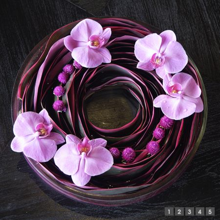 Ti leaves, gomphrena and phaleonopsis orchids. Sakul Intakul | Services | Hospitality Business
