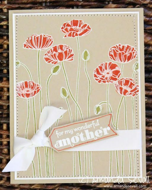Amanda Sevall Designs // 365 Cards: For My Wonderful Mother card Stampin Up Delightful Dozen and Pleasant Poppies stamps