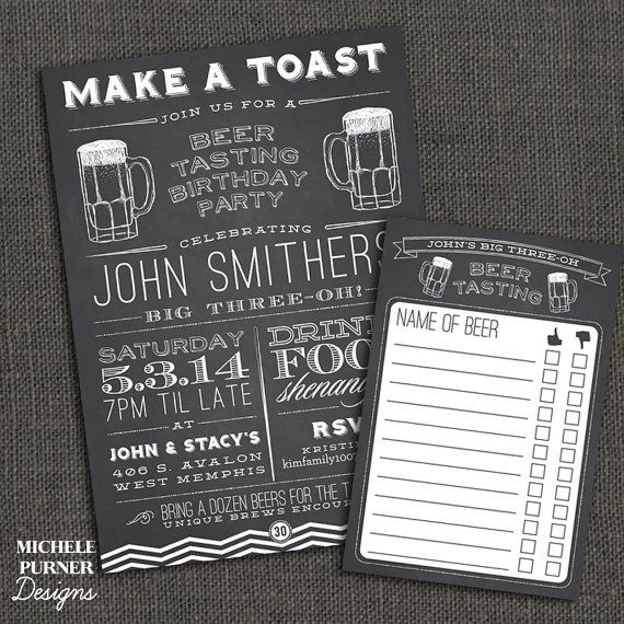 Beer Tasting Birthday Party - Beer score card - Surprise - 30 40 50 - Any Occasion - Chalkboard - Adult Male Female - PRINTABLE or printed on Etsy, $22.00