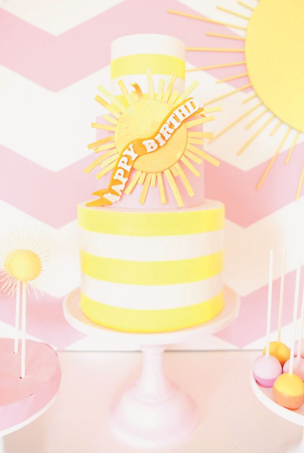 Pink Chevron You Are My Sunshine Birthday Party