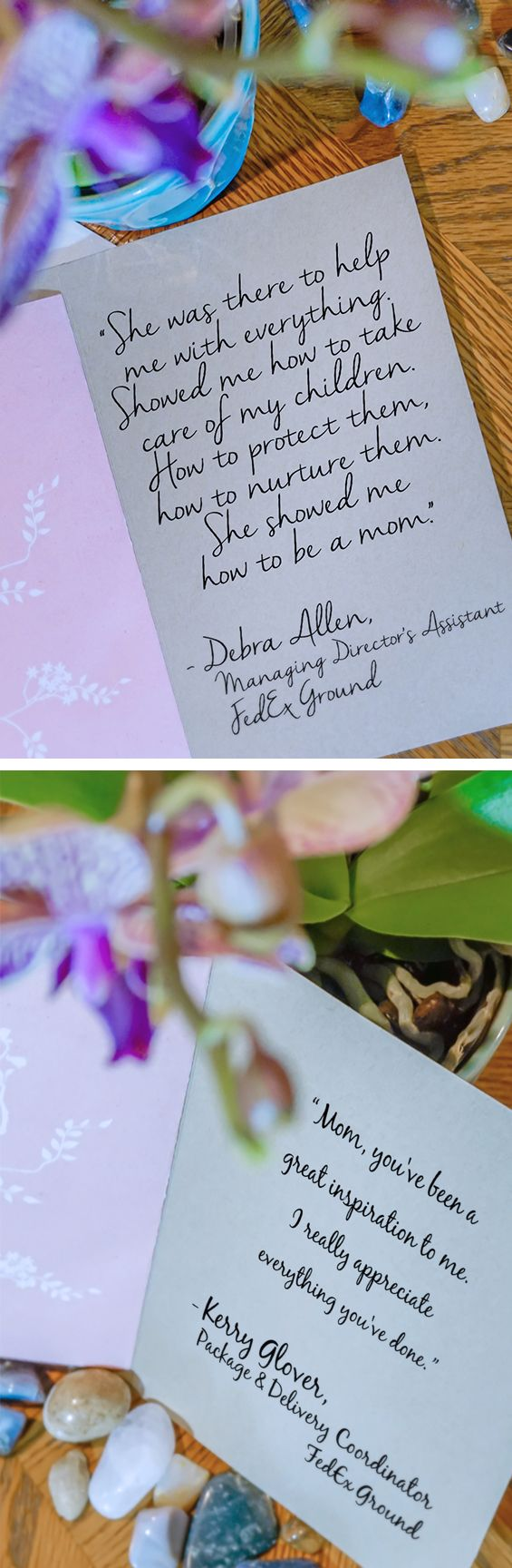 Our team members celebrate Mother's Day by sending messages of love and thankfulness. We're happy to be able to deliver it for them!