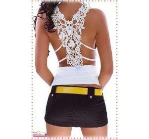 Top sexy pour femme. Ce top est moulant et plissé sur l'avant. Sur l'arrière, le dos est habillé de dentelle au crochet. Un top sublime et très sexy. Existe en noir ou en blanc. 90 % polyester - 10 % elasthane
