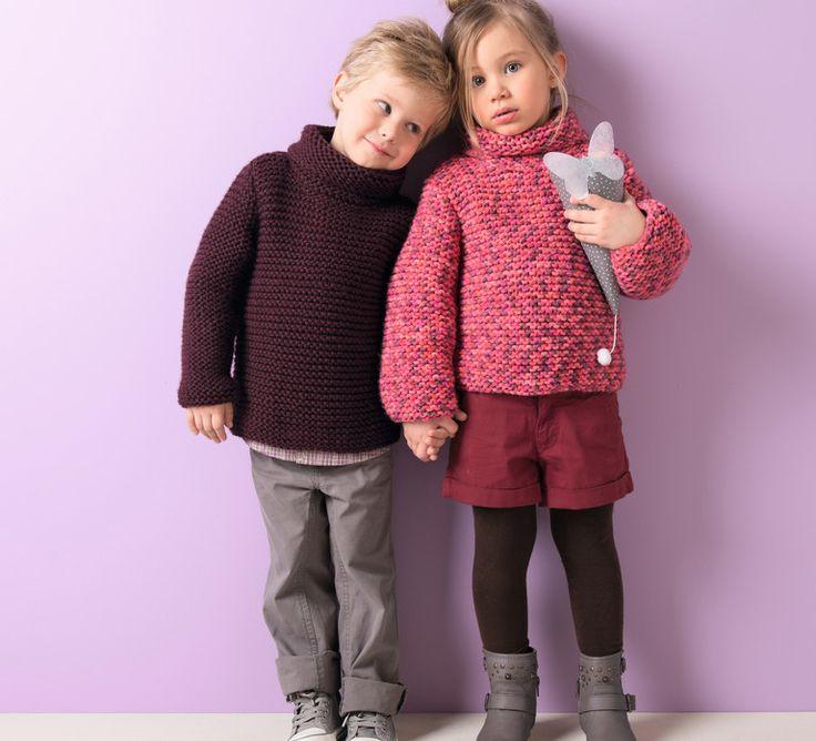 Tricotez à votre enfant ce modèle de pull, en 'Laine RAPIDO', coloris grenat. Au point mousse, voilà un modèle facile et rapide à réaliser ! Pensez à le décliner selon les tenues de votre enfant, grâce au panel de couleurs qu'offre la qualité rapido. Modèle tricot n°01 du catalogue 96 : Layette et Pitchoun, Automne/hiver
