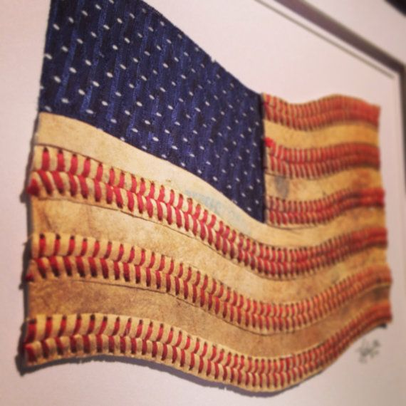 Baseball American Flag Original Artwork Made by baseballseamsco