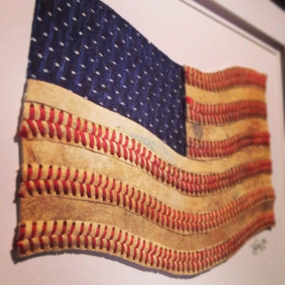 Baseball American Flag Original Artwork Made by baseballseamsco