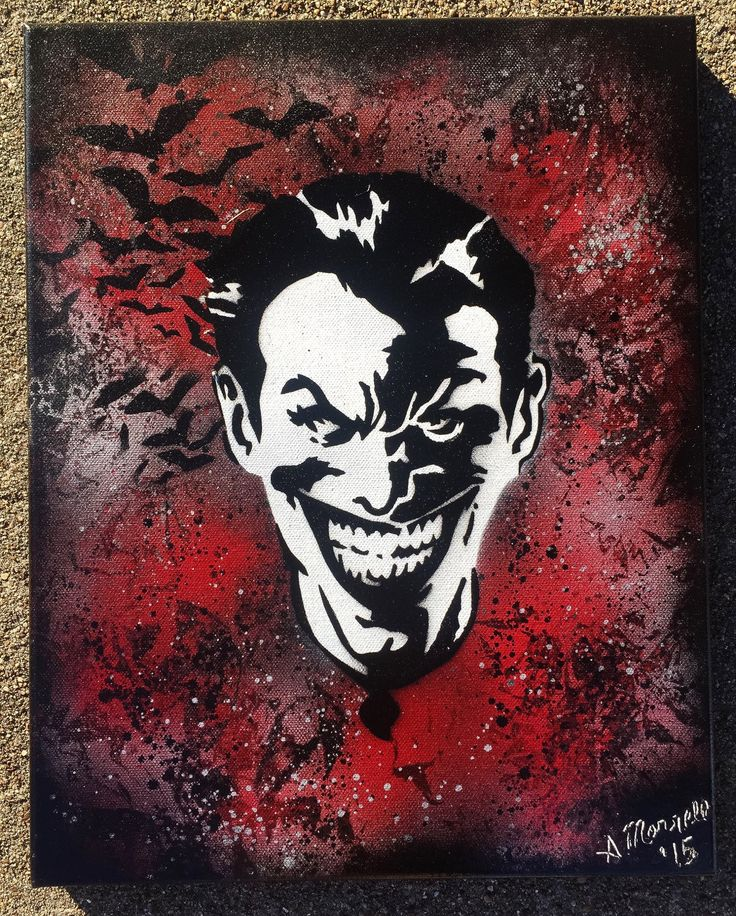 Super Villian Joker Jester Spray Paint Pop Art Cosmic Painting on Canvas Super Hero Geek Gift Idea Batman Bats Stencil Artwork Dark Knight (49.00 USD) by AngiesCosmicStudio