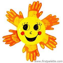 Yellow Handprint Sun Craft | Kids' Crafts | FirstPalette.com