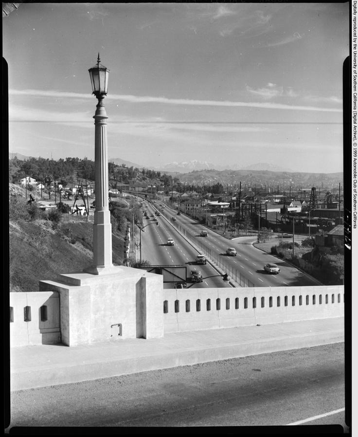 Arroyo Seco from College St. bridge, Los Angeles, 1955