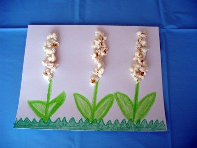 Spring popcorn flower craft and Spring Song for kids