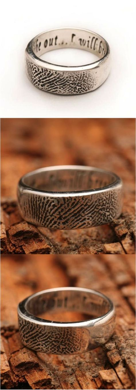 Custom and unique fingerprint ring handmade in sterling silver. This ring is handmade from an actual fingerprint taken from ink and paper. The grooves are clean and well defined that you can feel them with your fingertips! You can personalize your ring with a secret message from your actual handwriting. | Made on Hatch.co: https://www.hatch.co/products/76491-personalized-sterling-silver-fingerprint-ring-unisex#/