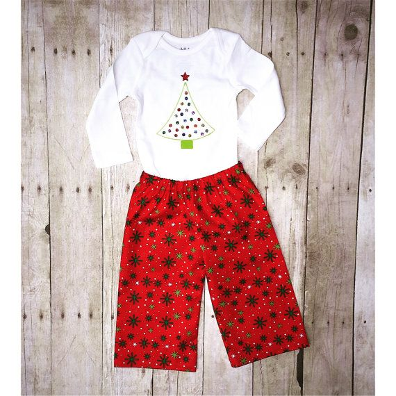 Infant Bodysuit and Double Ruffle pants ~ Kids Christmas outfit ~ Monogrammed Children's Clothes ~ Little Boy Toddler Christmas outfit