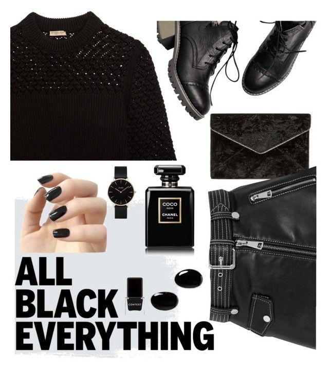 """all black!"" by onyourback on Polyvore featuring Rebecca Minkoff, Bottega Veneta, Maje, Incoco, CLUSE, Sophie Buhai, Context and Chanel"