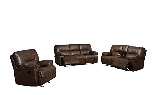 Living Room Reclining Sofa, Glider Reclining Loveseat w/ Storage Console and Glider Reclining Chair, 3-Piece Set, Covered in a Leather-Like Fabric