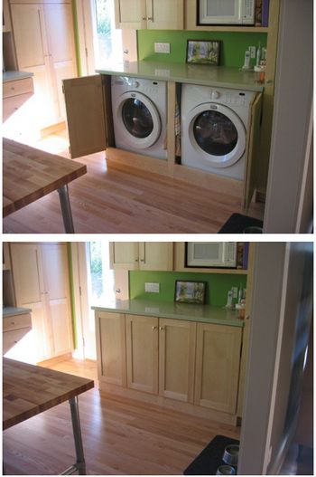 Find This Pin And More On Home Stuff Hidden Laundry In Kitchen