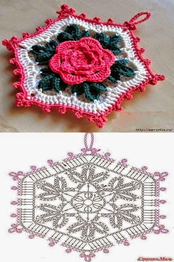 Agarradera hexagonal con centro de flor tejida al crochet - con diagrama