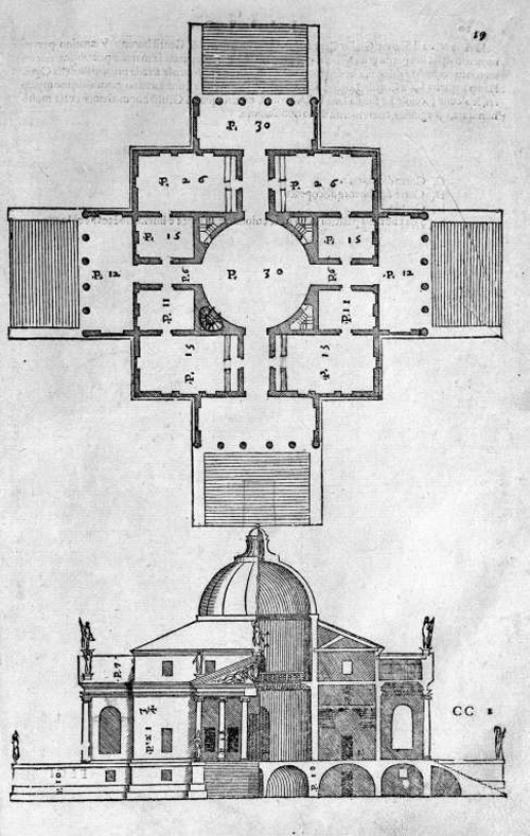 Plan, half-elevation half-section for the Villa Rotonda, Vicenza (1567–69)