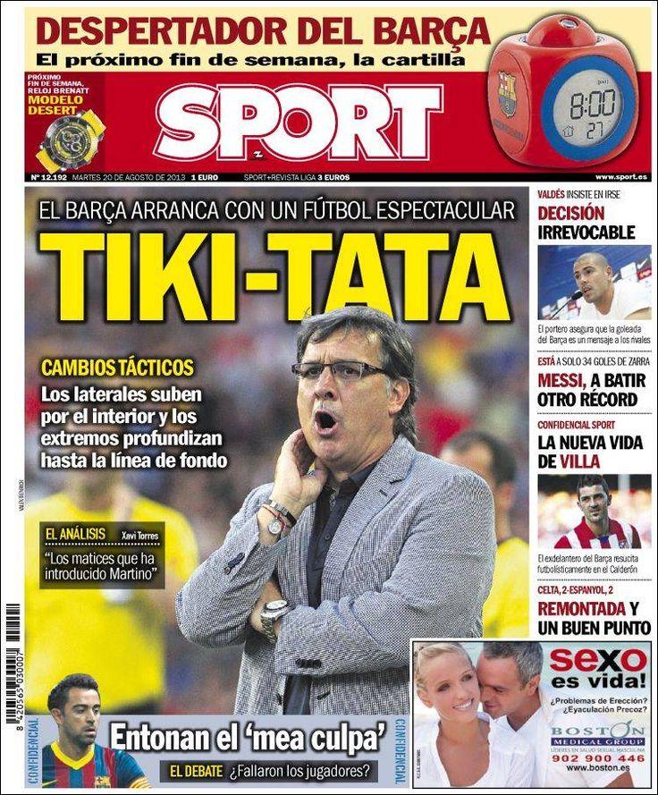 Los Titulares y Portadas de Noticias Destacadas Españolas del 20 de Agosto de 2013 del Diario Deportivo SPORT ¿Que le pareció esta Portada de este Diario Español?