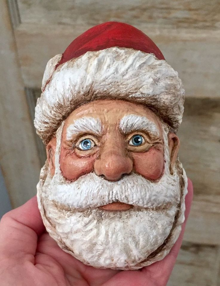 WOOD Carved Jolly Traditional SANTA Ooak Lisa Rogers ORIGINAL Carving #LisaRogers