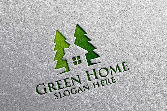 Green Home,Pine Real estate Logo by denayunebgt on @creativemarket