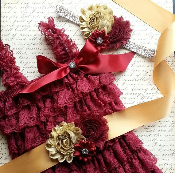 Baby Lace Romper Set, Smash Cake Outfit, Burgundy Petti Lace Romper Set, FSU Seminoles Photo Prop Newborn Outfit Birthday Outfit