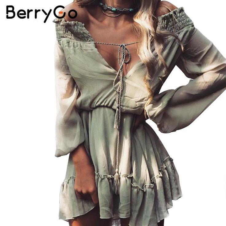 BerryGo Off Shoulder Long Sleeve Beach Summer Dress Short Chiffon Vintage Ruffle Dress