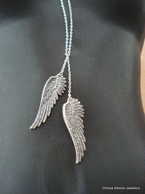 Wing Necklace Silver Wing Necklace Angel Wing by LoveAlexi on Etsy