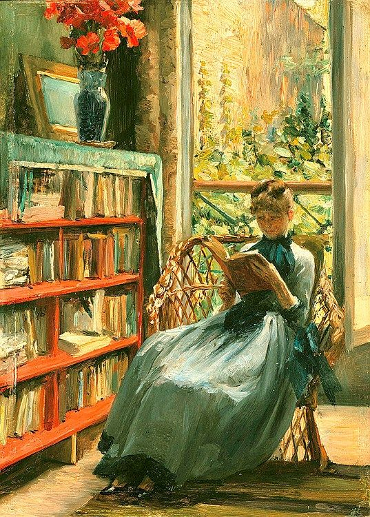 ✉ Biblio Beauties ✉ paintings of women reading letters & books - Louise Catherine Breslau | Reading, c. 1889