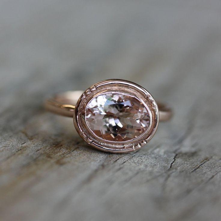 Recycled Sterling and Morganite Oval Halo Ring: 14K Rose, Milgrain Details, Inspiration Milgrain, Halo Rings, Beautiful Rings, Oval Halo, Vintage Inspiration, Morganite Oval, Rose Gold