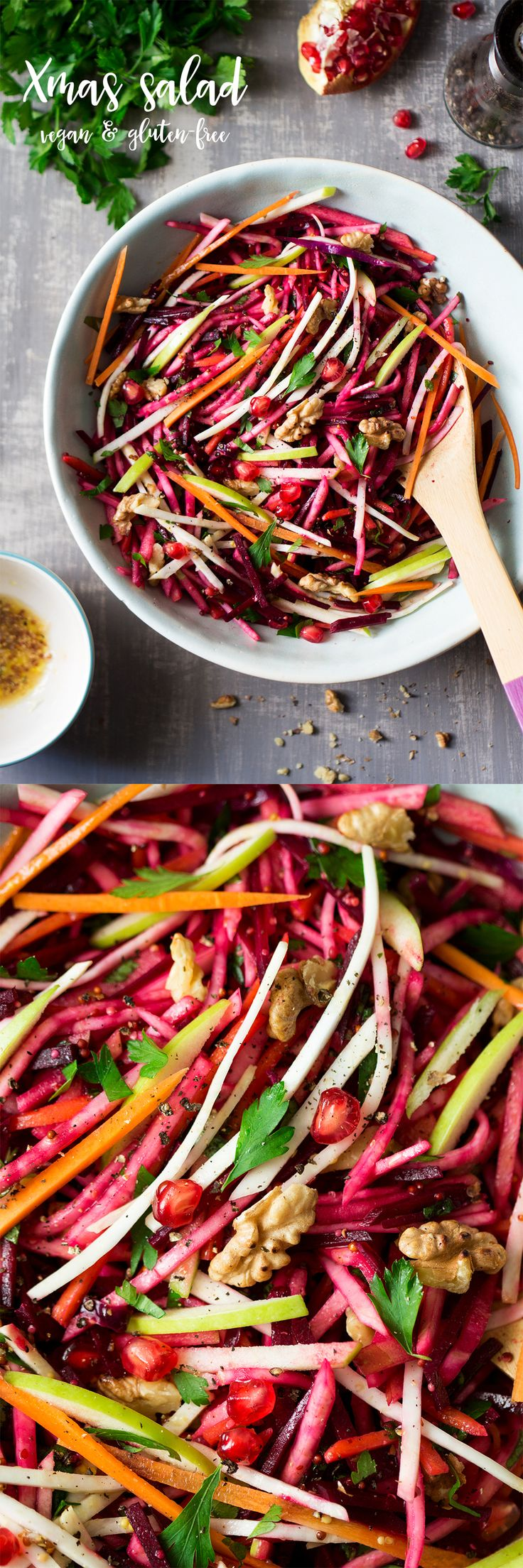 This simple #rootvegetable #salad is fresh, #crunchy and so vibrant, perfect for your #Christmas table. Naturally #vegan and #glutenfree too!  #recipe #recipes #xmas #beetroot #celeriac #celeriacsalad #rootveg #vegetarian #rainbowsalad #rainbow