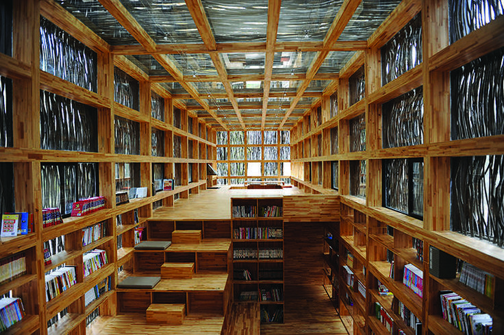 LIYUAN LIBRARY, BEIJING. Designed by Li Xiaodong Atelier, 2011. Clothed in untreated twigs, this library in the mountains outside Jiaojiehe is a dreamy haven of quiet.