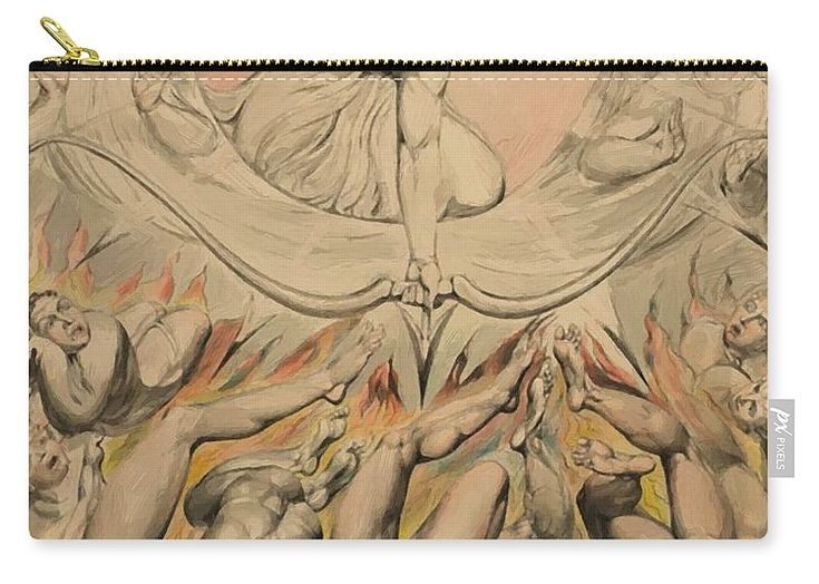 The Carry-all Pouch featuring the painting The Casting Of The Rebel Angels Into Hell 1808 by Blake William