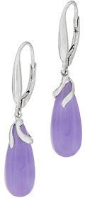 QVC Jade Sterling Silver Lever Back Drop Earrings
