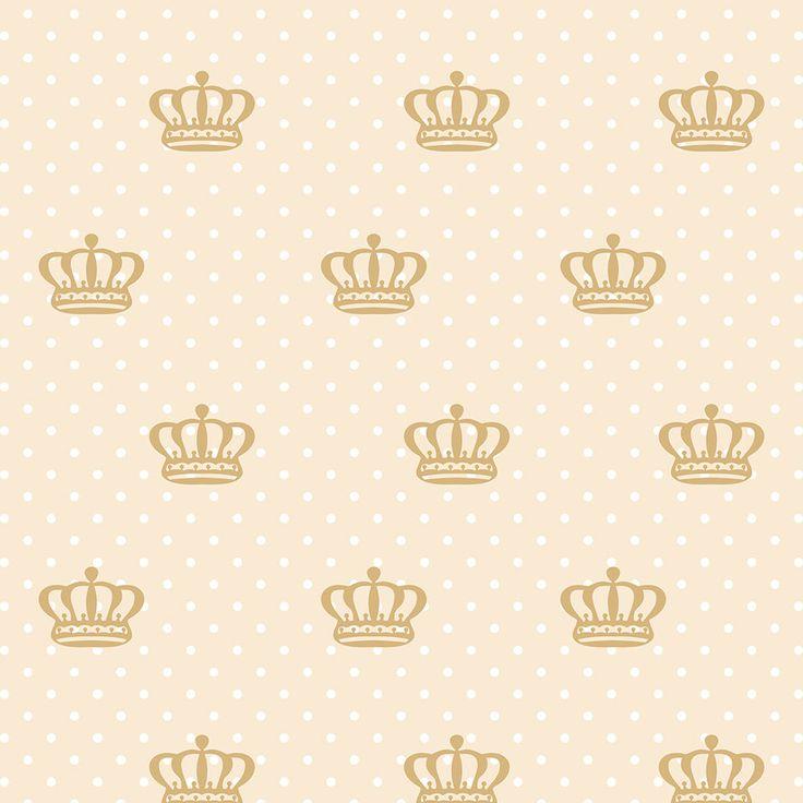 Papel de Parede Coroas em Bege e Bolinhas Brancas Sobre Fundo Nude - Papel de Parede Digital