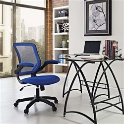 cool blue mesh back office chair with glass and metal office desk