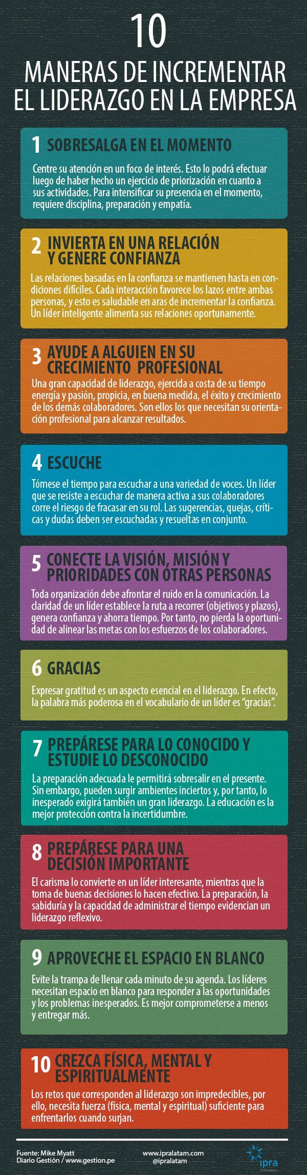 10 maneras de incrementar el liderazgo en la empresa Vía: @IPRA LATINOAMÉRICA #infografia #infographic