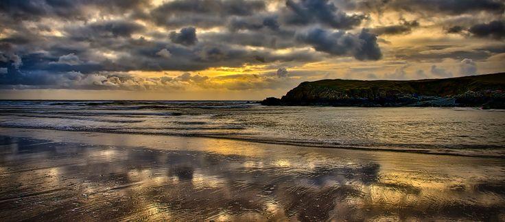 Sand like glass. Sunset over Anglesey