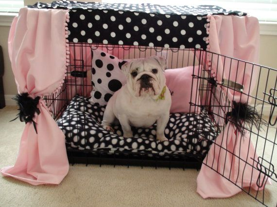 Dog crate cover I need to do this for my next dog!! So adorable!