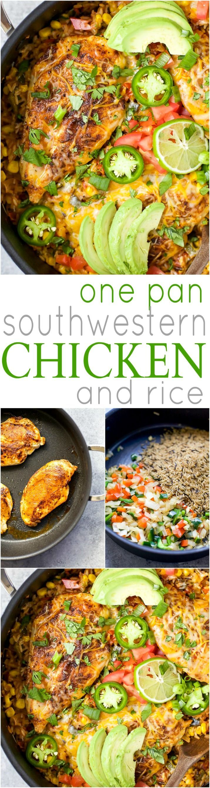 ONE PAN SOUTHWESTERN CHICKEN AND RICE - an easy healthy dinner recipe all made in one pan for easy cleanup! It's perfect for the family and bursting with flavor! | joyfulhealthyeats.com #ad | gluten free recipes #FavoriteFamilyRecipe #MacysLove