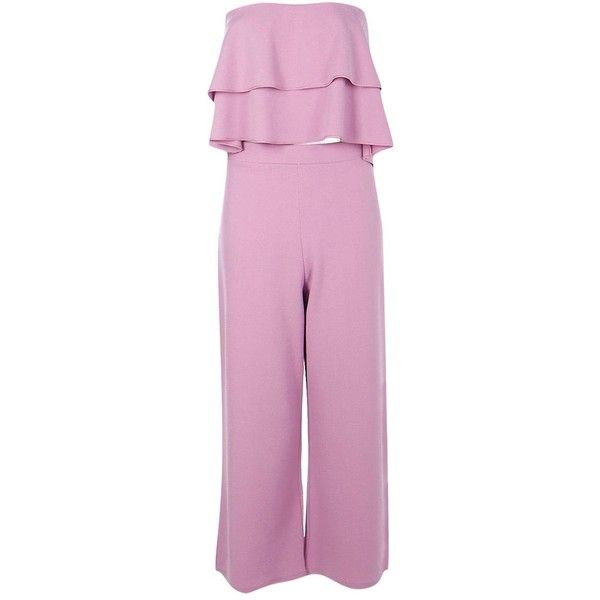 Boohoo Dina Double Bandeau Top & Culotte Co-ord Set | Boohoo ($25) ❤ liked on Polyvore featuring pink bandeau top, bandeau top, bandeau bikini tops, pink skort and golf skirts
