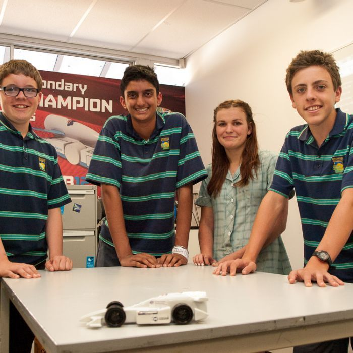 A group of Brighton Secondary School students have qualified for the F1 in Schools World Finals in Singapore after recently winning the Australian finals in Melbourne. (Image: ABC/Brett Williamson) #F1 #school #racing