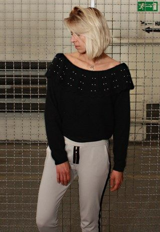 Vintage+80'+Unique+Elegant+Slik+Black+Jumper+with+Pearls