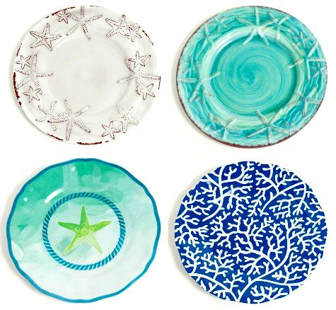Melamine Coastal & Beach Dinnerware for Outdoor Entertaining! Featured on CC: http://www.completely-coastal.com/2015/05/coastal-nautical-outdoor-dinnerware.html