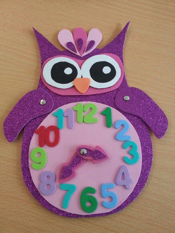 Reloj goma eva manualidades pinterest - Manualidades relojes infantiles ...