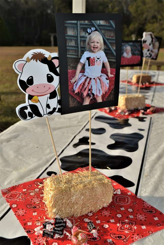 MOO! MOO!  Makenna's TWO!   CatchMyParty.com  #BarnyardParty #FarmParty #Cows #Centerpieces