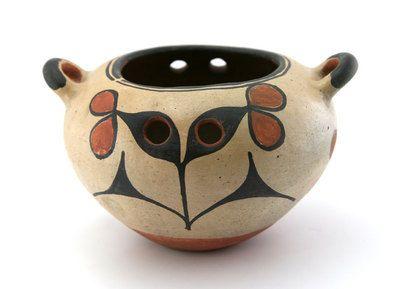 Santo Domingo Pueblo Pottery - Santo Domingo Handled Polychrome Pot