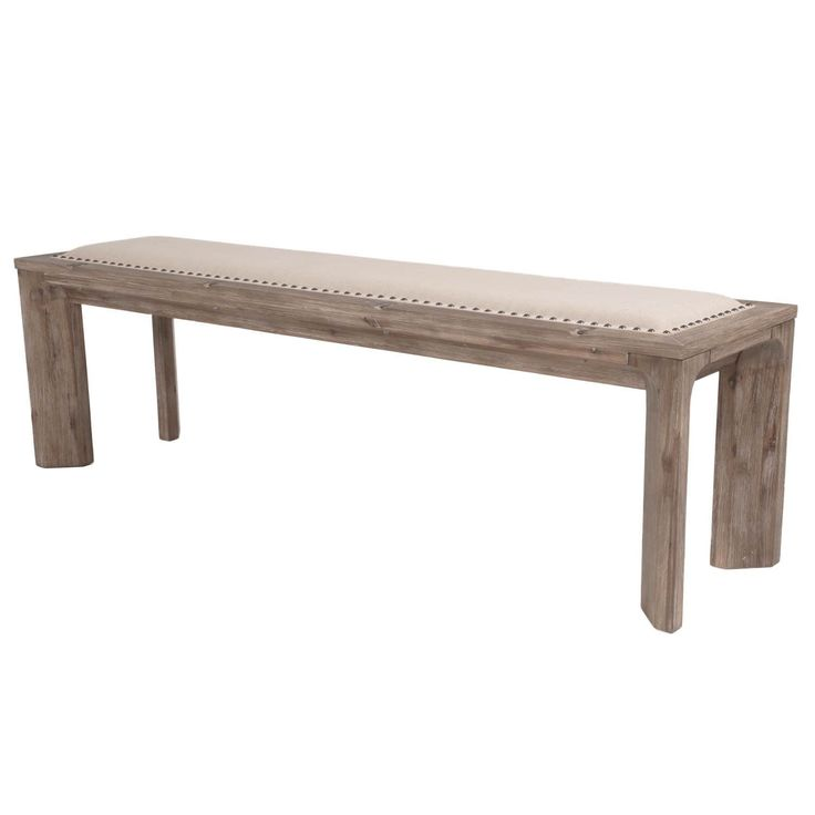 Melissa Upholstered Dining Bench (Gray Wash), Grey